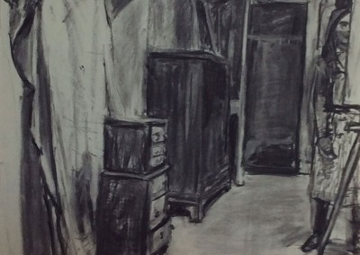 Attic at Dumfries House, charcoal, 84 x 60cm