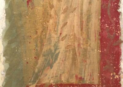 Curtain, fresco and wax on panel, 2015, 28 x 28cm