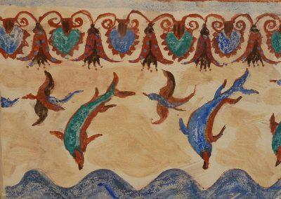 Dolphins, fresco on panel, 30 x 40cm, 2015