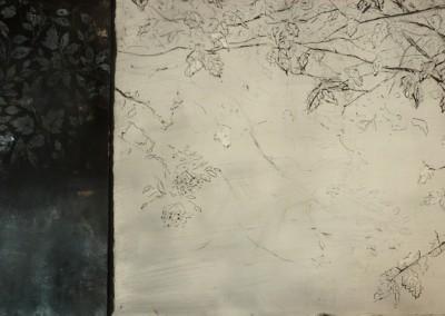 Elyseum, oil on aluminium and sgraffito and fresco on panel, 2015, 40 x 90cm