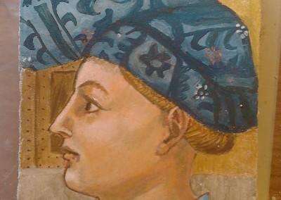 Masolino Head, fresco on brick, 2015, 24x16cm