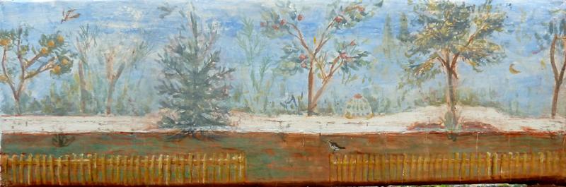 Olivia's Garden, fresco on panel, 2016, 15 x 45cm