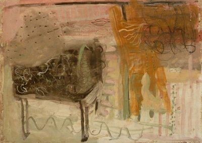 Piano, fresco and wax on panel, 30 x 30cm, 2015