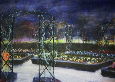 Rosaleda in the Night, oil and egg tempera on canvas, 2011, 80 x 120cm