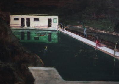 Swimming at Midnight in Iceland, oil on board, 2007, 40 x 75cm