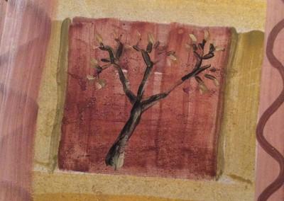 Tree, fresco on tile, 2015, 30 x 30cm