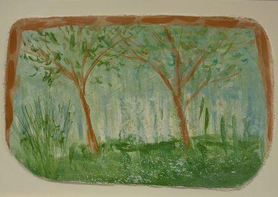 Two Trees, fresco on panel, 30 x 45cm, 2016