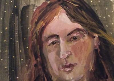 Woman's Face, fresco on tile, 2015, 30 x 30cm
