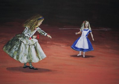 Olivia Irvine, ALice as the Infanta, the Infanta as Alice, egg tempera on board, 2002, 25 x 36cm