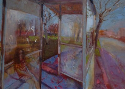 Olivia Irvine, Bus Shelter 1, oil and egg tempera on canvas, 2013, 60 x 91cm
