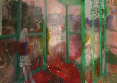 Olivia Irvine, Bus Shelter 2, oil and egg tempera on canvas, 2013, 70 x 90cm