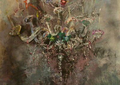 chandelier, acrylic, oil and egg tempera on canvas, 80x60cm, 2016