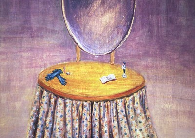 Olivia Irvine, Dressing Table 1, egg tempera on board, 2003, 39 x 28cm