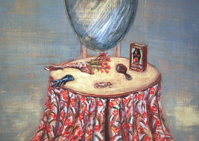 Olivia Irvine, Dressing Table 2, egg tempera on board, 2003, 39 x 28cm