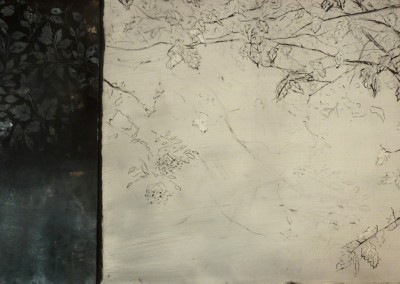Elyseum, oil on aluminium and sgraffito and fresco on panel, 2015, 40 x 90cm