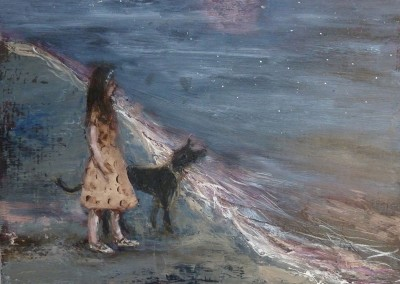 Olivia Irvine, Girl, Dog and Moon, oil and egg tempera on board, 2012, 26 x 33cm