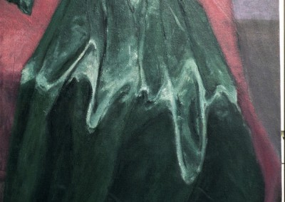 Olivia Irvine, Green Satin Dress, oil on canvas, 1996, 100 x 60cm