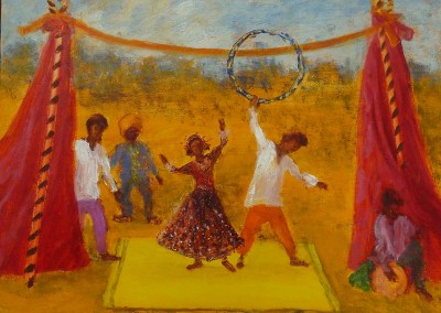 Olivia Irvine, Indian Circus, oil and egg tempera on board, 2010, 30 x 40cm