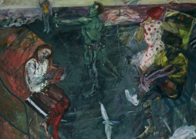 Olivia Irvine, Love Affair in the South of France, oil on canvas, 1986, 210 x210cm