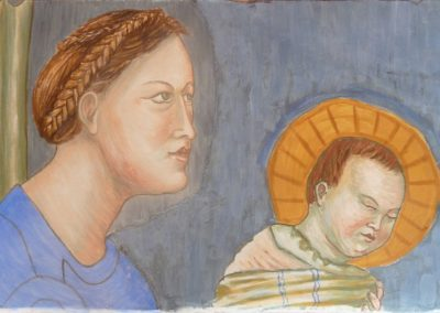 Madonna and Child (after Giotto), fresco and secco on panel, 2016, 30 x 45cm