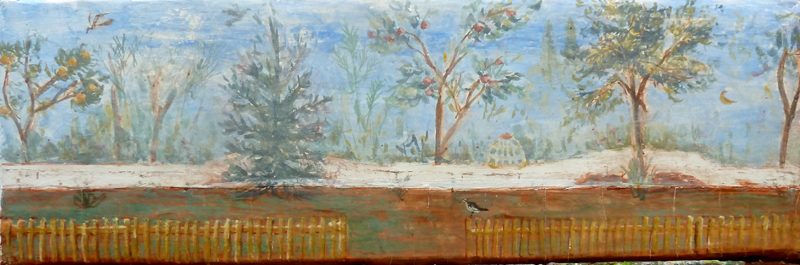 Olivia's Garden, fresco on panel, 2016, 15 x 45cm