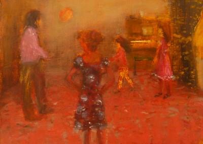 Olivia Irvine, Pink carpet, oil and egg tempera on canvas, 2011, 26 X 33cm