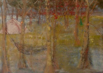 Pink Tent, oil and egg tempera on board, 2011, 50 X 70cm