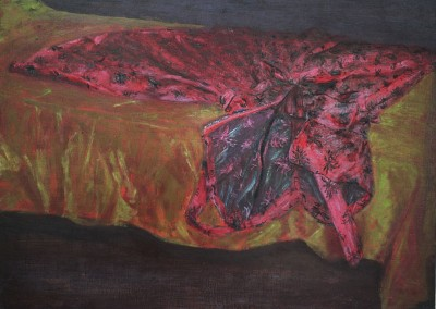 Olivia Irvine, Red Satin Dress, oil and egg tempera on board, 2000, 30 x 40cm