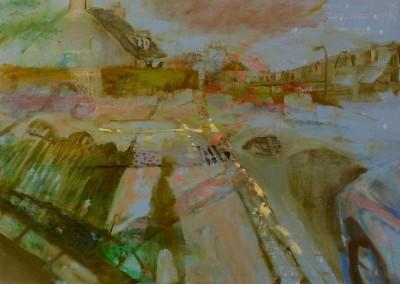 Olivia Irvine, Street Corner, oil and egg tempera on canvas, 2013, 60 x 81cm