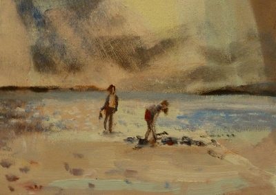 Stronsay beach, oil on canvas, 20x30cm, 2016
