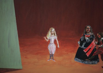 Olivia Irvine, The Infanta is Tempted 1, egg tempera on board, 2002, 31 x 41cm