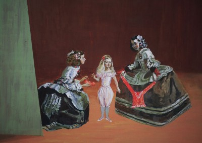 Olivia Irvine, The Infanta is Tempted 2, egg tempera on board, 2002, 31 x 41cm