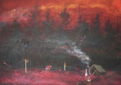 Olivia Irvine, Woodcraft, oil and egg tempera on canvas, 2010, 50 x 70cm
