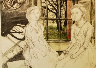 A collaged drawing of two of the same women sitting in front of a window.