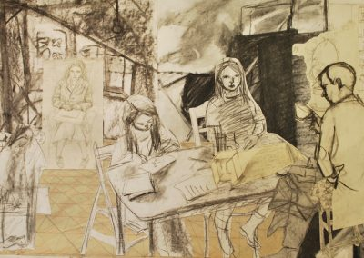 A collaged drawing of four people sitting in a room. Three of them are drawing.