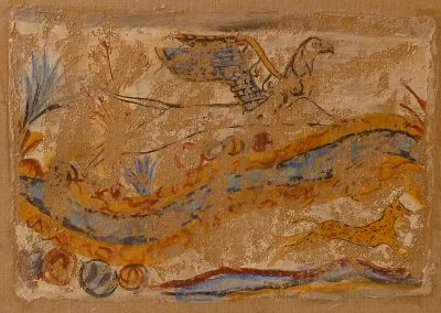 A copy of a greek fresco of a griffon and a gazelle which was then transferred onto linen with the strappo technique