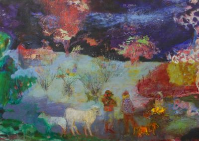 Some children and animals are in an open landscape with a big sky featuring the milky way.