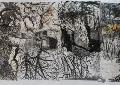 A collage of drawings of trees and sheds