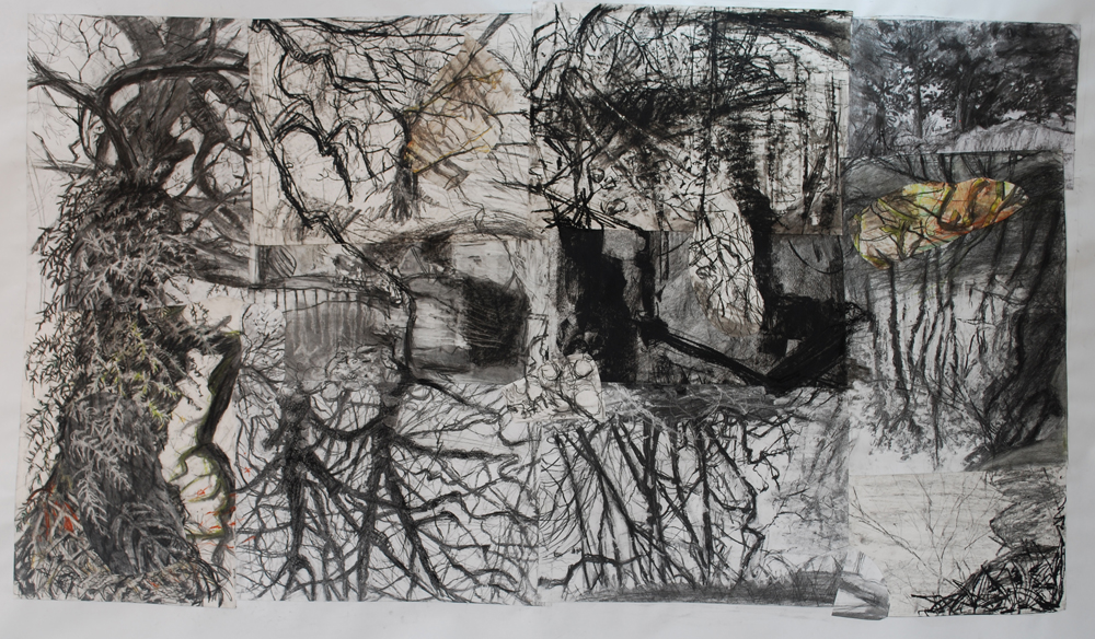 a collage of charcoal drawings of trees refelcted in a river