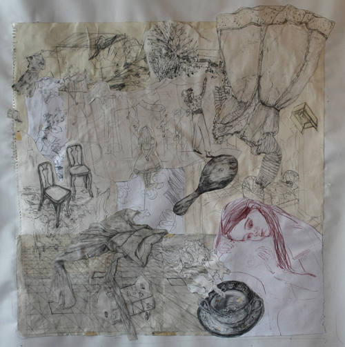 a collage of drawings of figures and objects