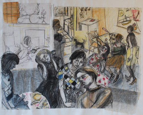 a collage of charcoal drawings of figures in a room