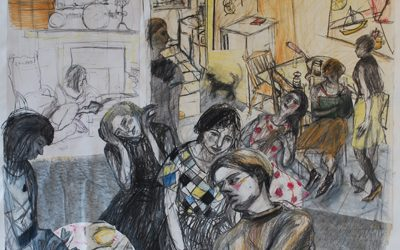 Residency at Merz, Sanquhar; Collaged Charcoal Drawings