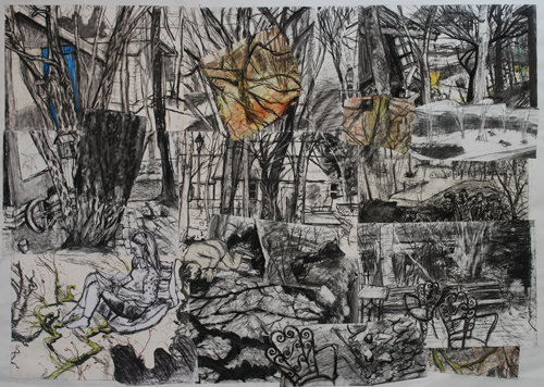 a collage of charcoal drawings of trees and sheds
