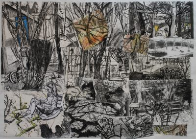 a collage of drawings of sheds and trees
