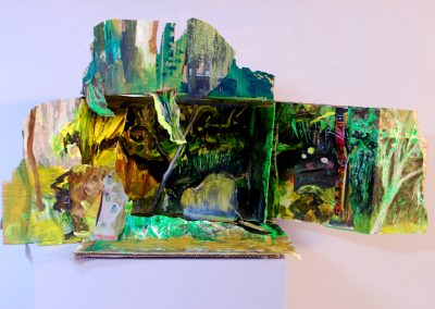 A diorama of a colourful landscape