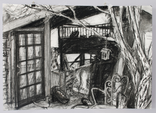 a charcoal drawing of a woodshed