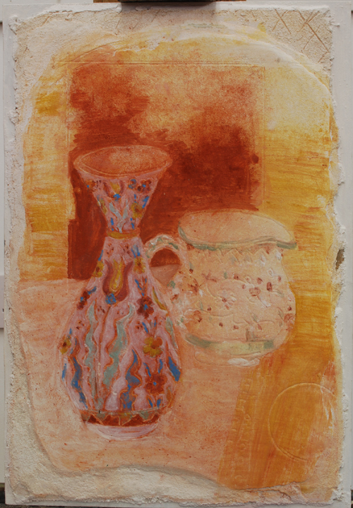 Life Under Lockdown, a fresco of a vase and a jug