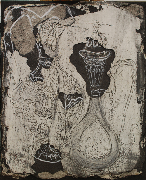 Life Under Lockdown, a sgraffito of a jug and a coffee pot