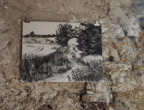 a charcoal drawing of a landscape in Northumberland