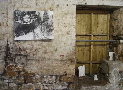 charcoal drawing and 'Milk and Hay' bark sculptures with gesso and silverpoint on milking stool